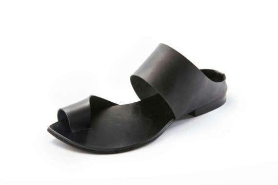 f7779f6efecd4 New Leather Sandals, Black Leather Sandals, Flat Sandals, Black ...