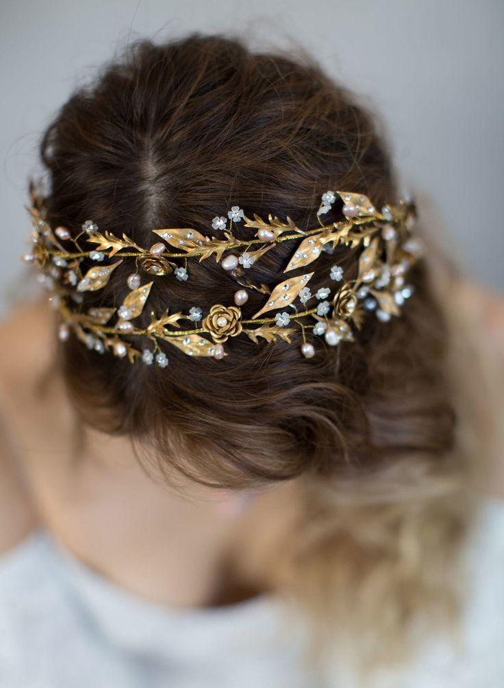 brass dewdrop headpiece, bridal headband, wedding headpiece, double band headpiece, nature inspired, twigs and honey