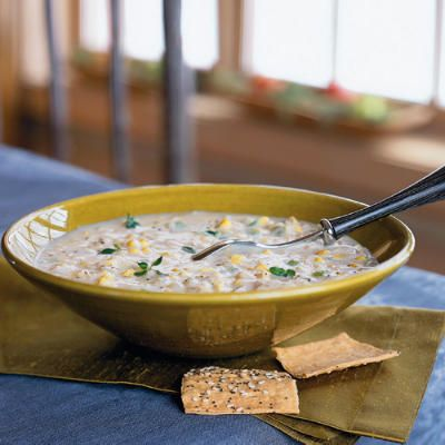 QUICK CHICKEN-CORN CHOWDER  - You can have this chicken corn chowder ON THE TABLE IN LESS THAN 30 MIN.