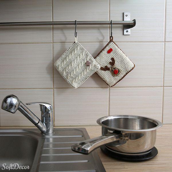 Świąteczne łapki kuchenne w SoftDecor na DaWanda.com