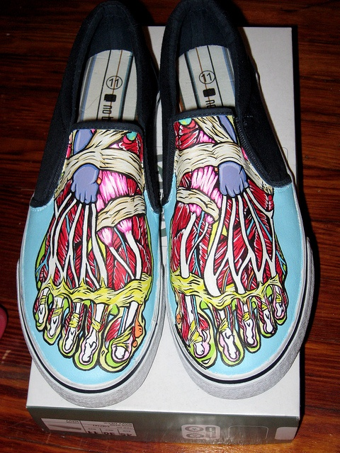 hand painted shoes- anatomy lesson. interesting idea, but could be expensive for some students..