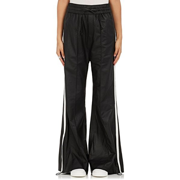 Off-White c/o Virgil Abloh Women's Leather Wide-Leg Jogger Pants (90,080 PHP) ❤ liked on Polyvore featuring pants, black, wide leg trousers, jogging trousers, leather jogging pants, off white pants and jogger pants