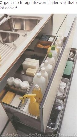 Drawer organizer under kitchen sink