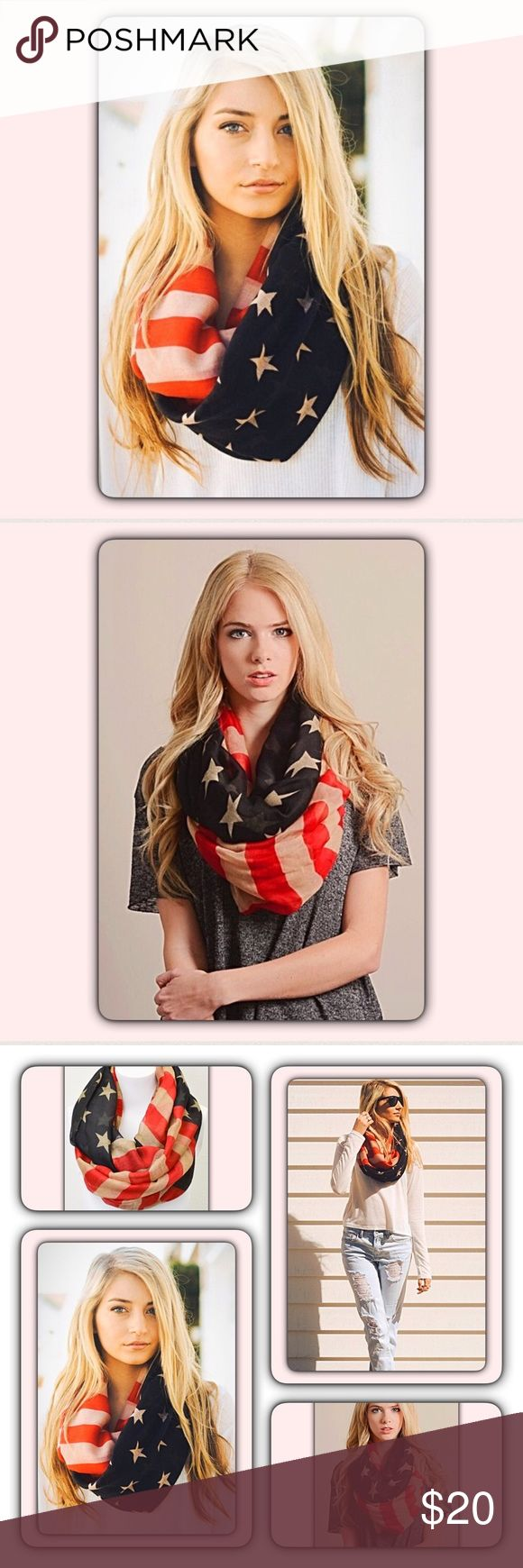 """Vintage American Flag Infinity Scarf Always on trend patriotic vintage American Flag infinity scarf. Lightweight 100% viscose 35""""x35""""  Perfect for Memorial Day & 4th of July, but looks great any time of the year! Vintage shades of off white, red & blue. Accessories Scarves & Wraps"""