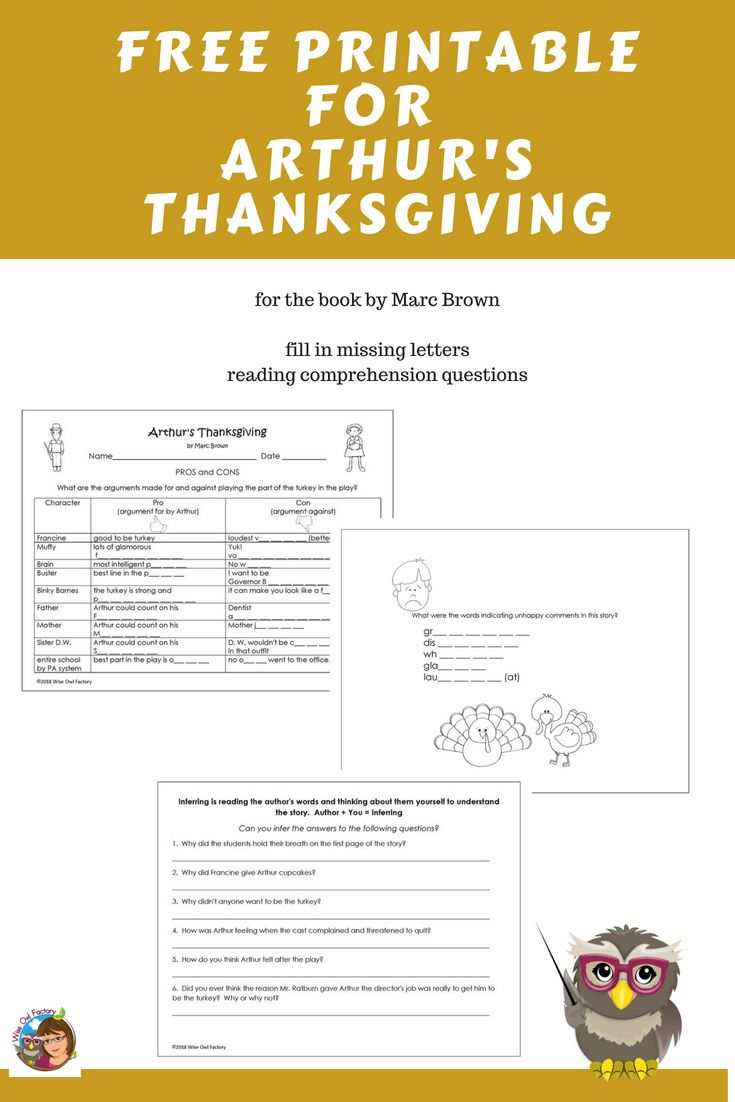 Free Printable For Arthur S Thanksgiving Book Thanksgiving Books Free Printables Reading Comprehension Questions [ 1102 x 735 Pixel ]