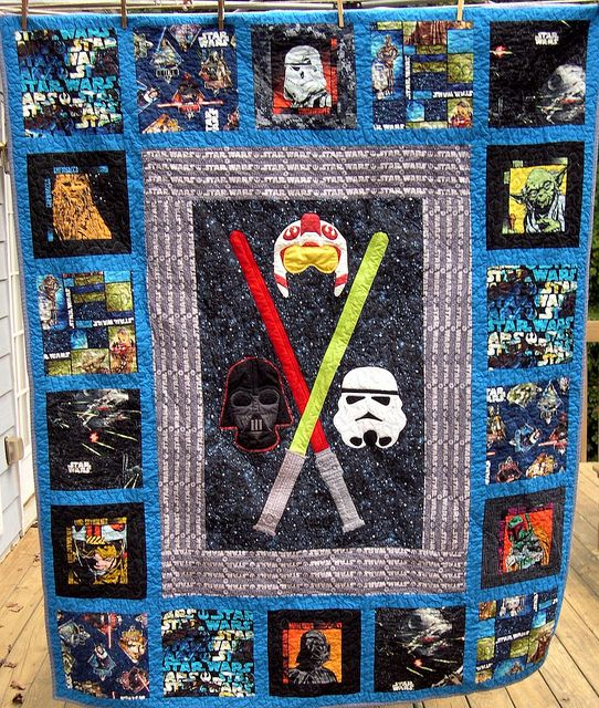 Star Wars Quilt, Episode 2, for my BIL. Click through for more detail pictures.: Awesome Stars, Stars War Quilts, Episode, Starwars Quilts Kids, Star Wars Quilt, Quilts Starwars, Details Pictures, Quilts Ideas, Baby Stuff
