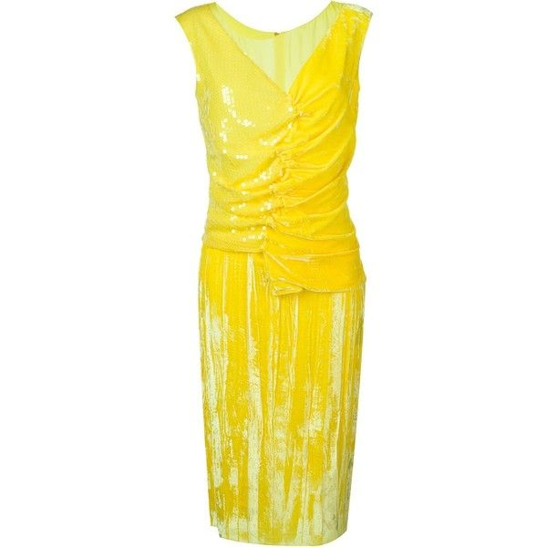 Nina Ricci Sequin Dress ($1,458) ❤ liked on Polyvore featuring dresses, silk dress, nina ricci, yellow silk dress, yellow cocktail dress and sequined dresses