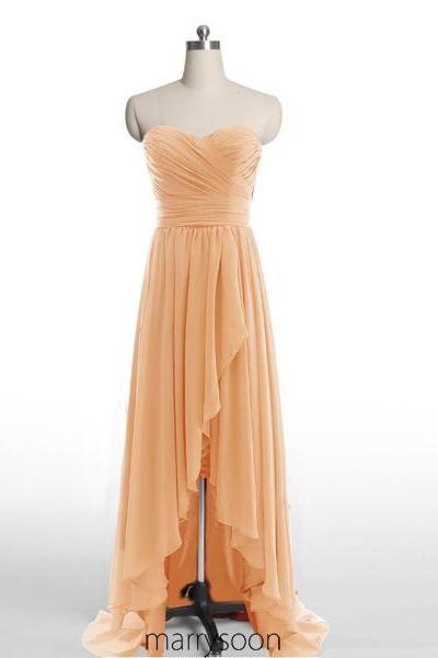 Orange High Low Chiffon Bridesmaid Dresses, Hi-lo Peach Orange A-line Sweetheart Neck Bridesmaid Gown MD080