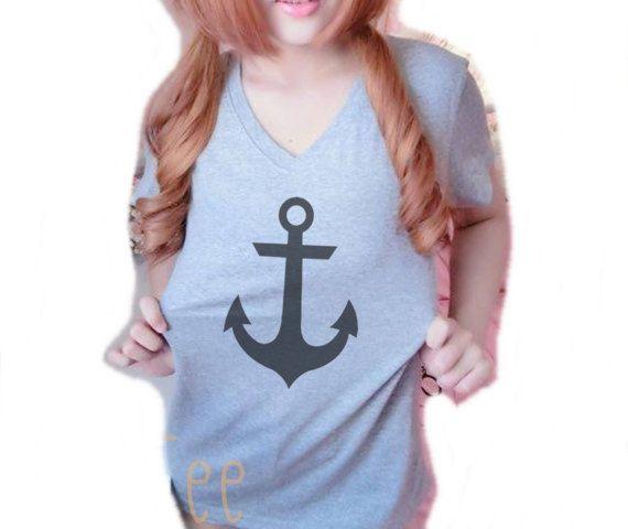 Anchor shirt S 34/ M36 /L40 /XL44 inches Gray t shirt short