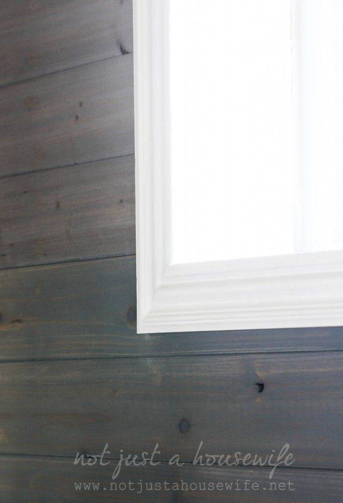 gray-stained plank wall - Love this look.