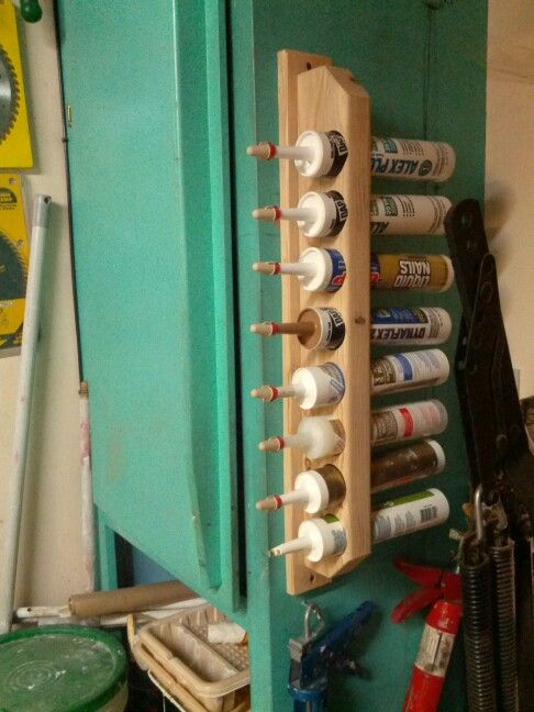 Caulking storage rack. Electrical Wirenuts seal end to keep out air.