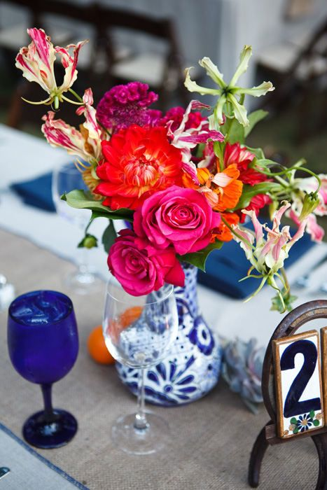 Blue + White Ceramic vases for centerpieces with  white roses, peonies and maybe touch of cherry brandy roses