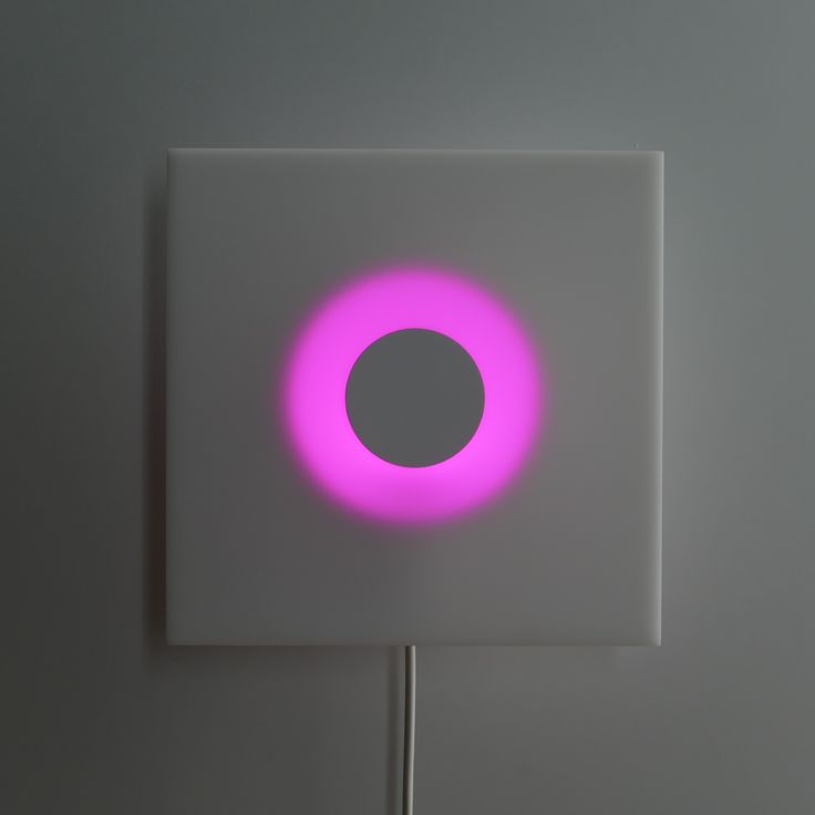 CIRCLE IN A SQUARE (MINI), 2014, Powder-coated mild steel, PVC and Led lamp, 25 x 25 x 9.8 cm