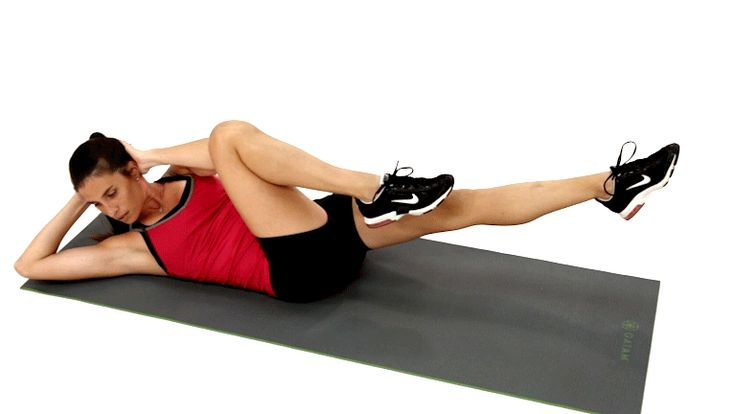 animated GIF of how to do bicycle crunches