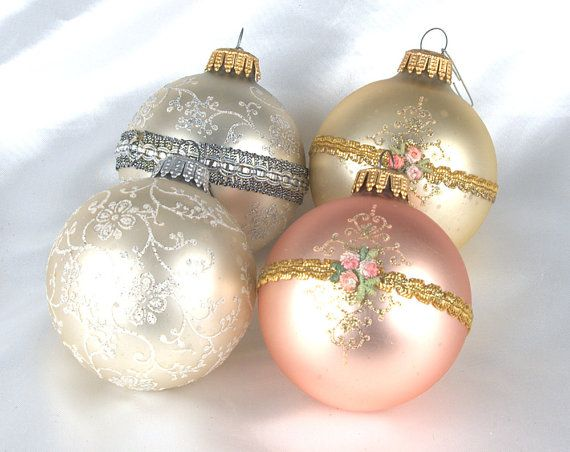 Vintage Mercury Glass Ribbon and Glitter Christmas Ornaments - Set of 4 #dteam