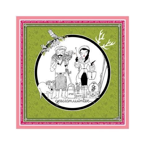 """""""Grecian Winter"""" silk scarf 100% twill 90cm x 90cm"""