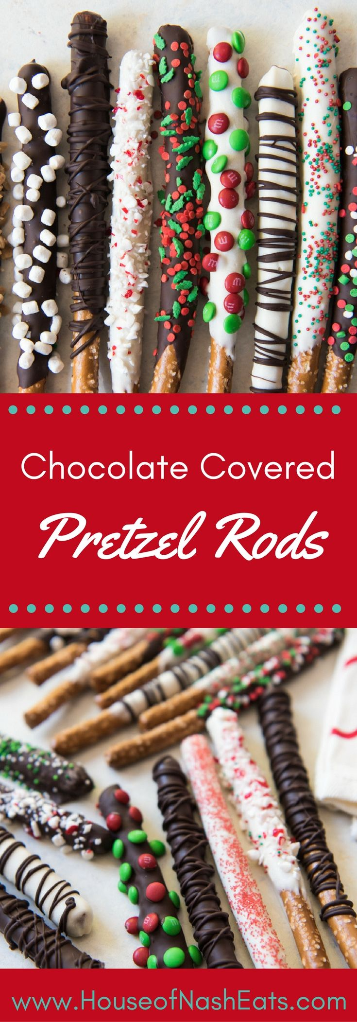 Chocolate Covered Pretzel Rods are a sweet and salty treat that is easily customizable for any holiday or occasion and fun for kids to help make too! These Christmas chocolate covered pretzel rods are going to be packaged up and shared as gifts with my girls' school friends this year! #pretzels #chocolate #Christmas #sprinkles