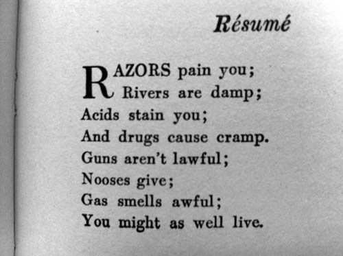 126 best Literati images on Pinterest Books, Classy and Germany - dorothy parker resume