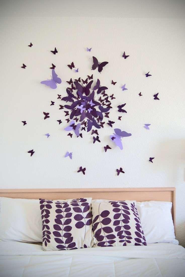 Decorazioni strane per pareti interne - Farfalle viola di carta da parete
