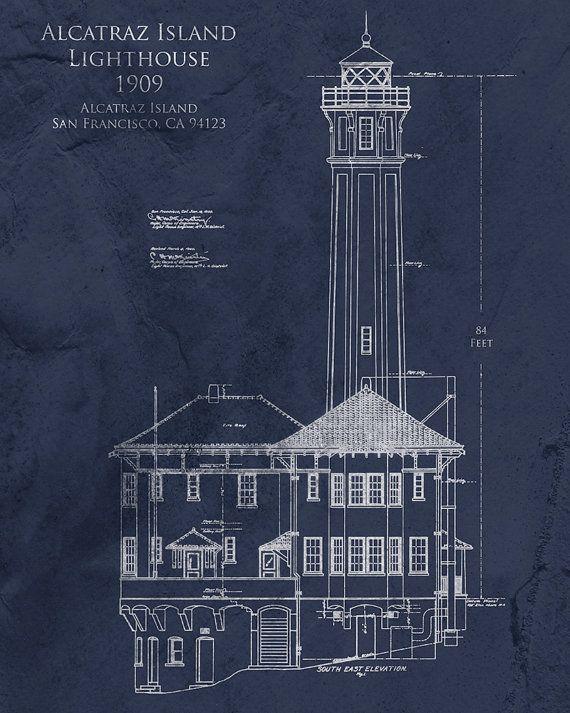 405 best lighthouse blueprints images on pinterest light house alcatraz lighthouse 8 x 10 architectural blueprint art print malvernweather Gallery