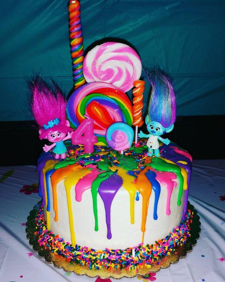 "48 Likes, 20 Comments - Mara Carrero-Falcon (@maras.luv) on Instagram: ""My daughter's Trolls Birthday cake! #4  #trolls  #trollsbirthday"""