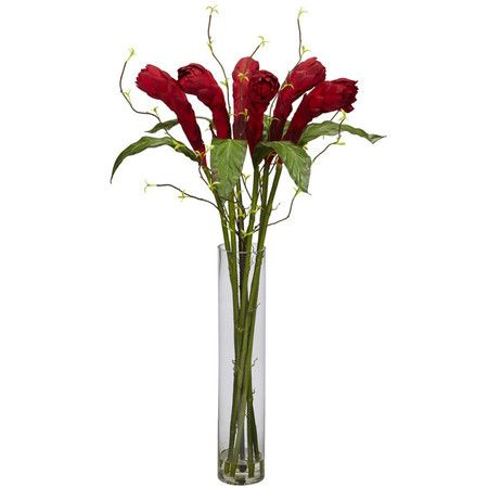 13 best silk flowers in glass vase images on pinterest silk silk ginger flower arrangement in a tall glass vase mightylinksfo Images