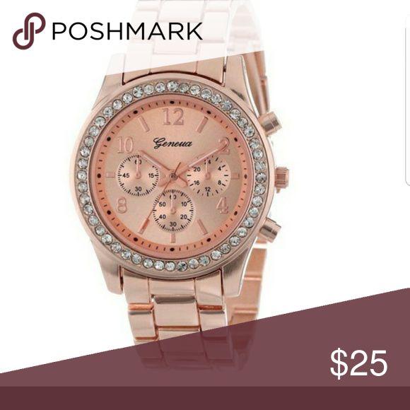 Ladies Rose gold quartz chronograph watch Rose gold with crystal bezel Geneva Jewelry