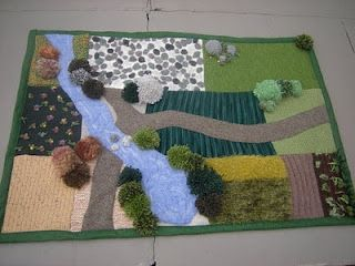 "Quilted/Knitted ""farm yard"". Adorable baby blanket becomes play mat. Reversible = double the fun!"