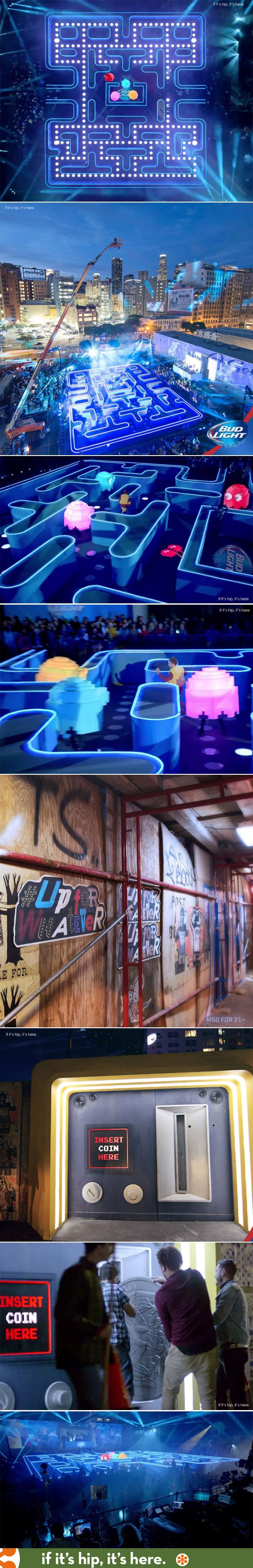 So cool! A real life sized Pac Man Game created for the Bud Light Superbowl spot Coin. #experiential