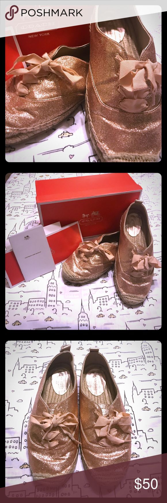 Coach Glittery Rosegold Espadrille Flats- Size 7.5 Coach Glittery Rosegold Espadrille Flats w/ Rosegold Ribbon Shoelaces - Size 7.5 - Used, but in Great Condition - Includes original Coach box, care instructions and authenticity purchase card & receipt!  These shoes have been gently loved meaning I've worn them a handful of times when I first got them, but they've been stored in the box ever since.  These shoes are super cute & comfy and would look awesome worn all year long!  Embrace the…