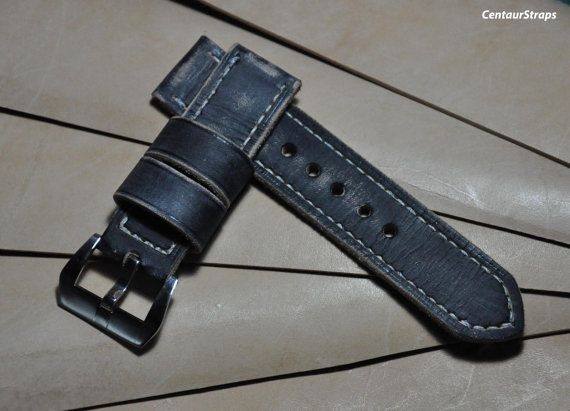 Black distressed handmade leather watch strap by CentaurStraps, €65.00
