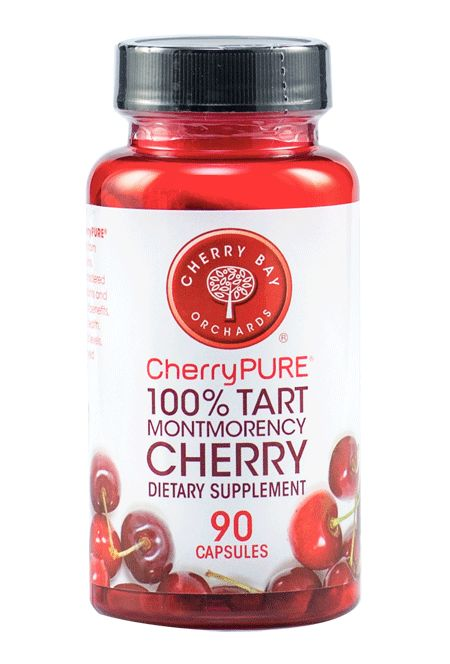 CherryPURE® Tart Montmorency Cherry Capsules are made from the deep red skins of 100% Tart Montmorency cherries. Montmorency cherries are considered a rich source of powerful antioxidants and flavonoids, which promote a host of health benefits including; cardiovascular system health, normal joint function and uric acid levels, regular sleep patterns, and improved muscular strength and recovery.