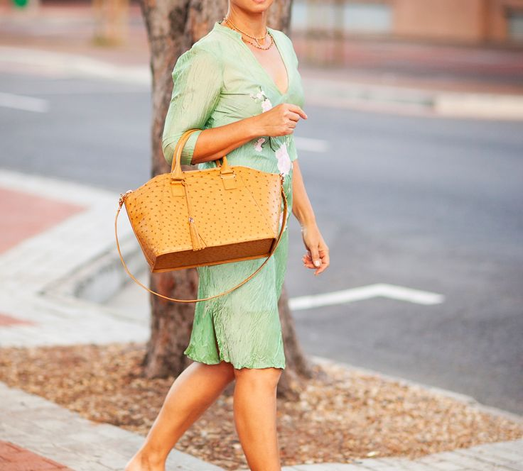 Marchesa in Champagne brown. Structured luxury ostrich leather handbag. www.pedicollections.com