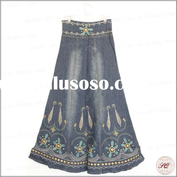 Beautiful embroidered long jean skirts for women