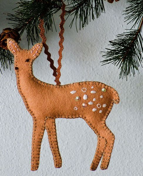 I have a dream to own a cabin in the woods someday. Until then, I make felt ornaments that look like the woods. This is my second (2009) collection of ornament