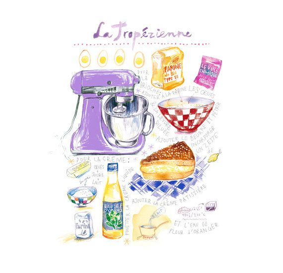 La Tropezienne - French cake illustrated recipe print, Food illustration, Kitchen art, Cuisine of Provence, Bakery, 8X10 Lilac home decor