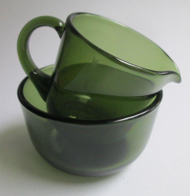 Olive green glass creamer (5578) and sugar bowl (5577), designed 1955 by Saara Hopea for Nuutajärvi Notsjö Finland by SCALDESIGN on Etsy