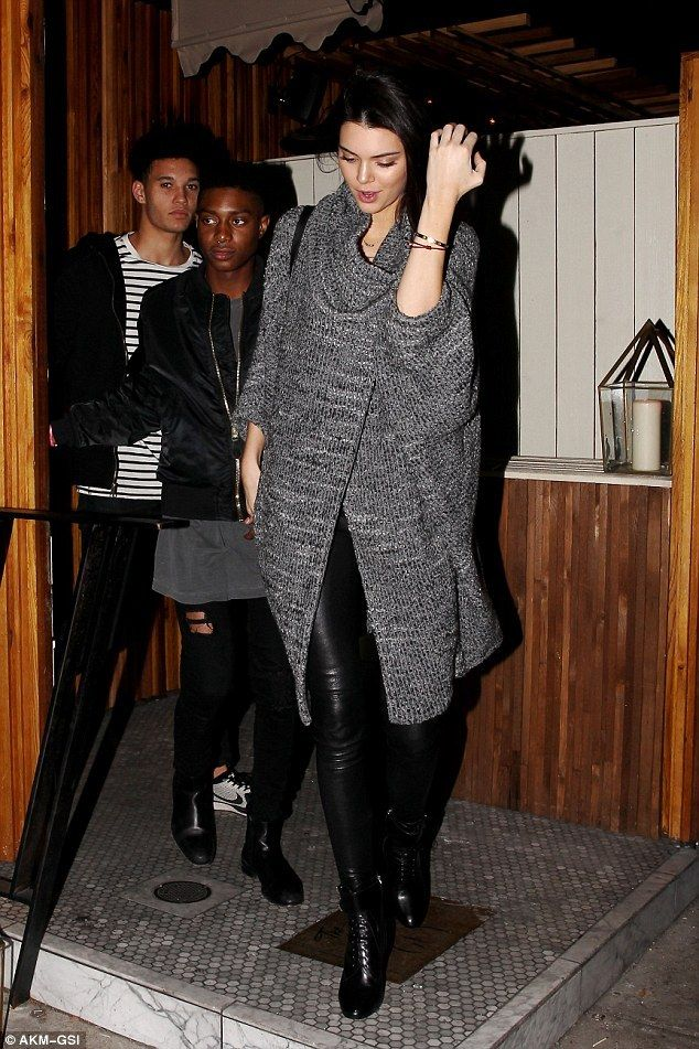 Kendall Jenner wearing Celine Nano Bag, Prada Top-Buckle Lace-Up Booties and Cut25 by Yigal Azrouel Dolman Sleeve Coat