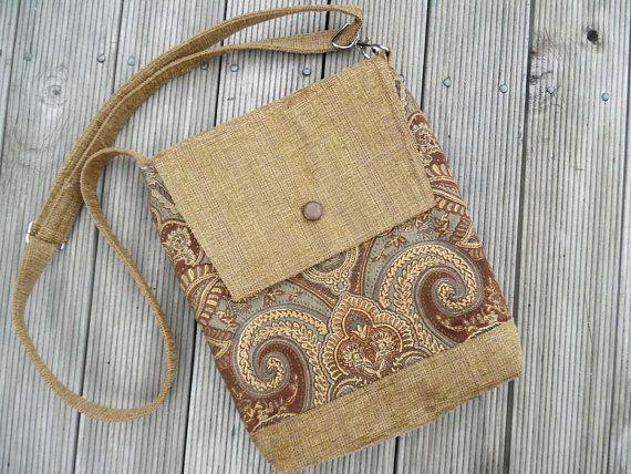 Brown tan fabric bag. Designer fabric bag. Upholstery fabric bag. Messenger bag. Crossbody bag