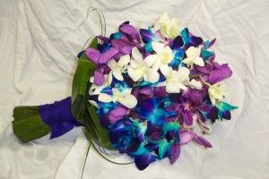 Blue & purple orchid bouquet