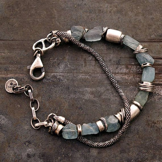 raw aquamarine bracelets, handmade of oxidized 925 sterling silver - 100 %, signed, © ewa lompe  10% OFF when You spend US$50 enter code: WINTER10 15% OFF when You spend US$130 enter code: WINTER15  D E T A I L S : total length : 18 - 22 cm or 7- 8.5  ( can be changed. Please, let me know. )