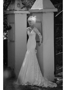 Long Sleeve V Neck Court Train Lace Trumpet Mermaid Wedding Dress With Bowknot