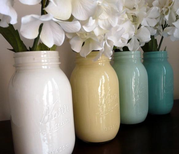 Painted Mason Jars. love.: Masons, Mason Jar Vases, Painted Mason Jars, Diy Project, Painted Jars, Craft Ideas, Mason Jars Painted