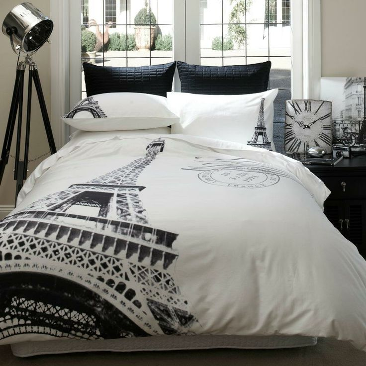 modern black and white paris bedroom decor bedding for small room spare room idea