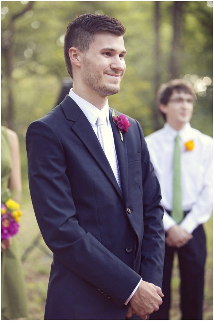 Groom's first look! | Photo by http://www.sarahkatephoto.com | see more http://www.thebridelink.com/blog/2013/07/22/bohemian-garden-wedding-by-sarah-kate-photography/