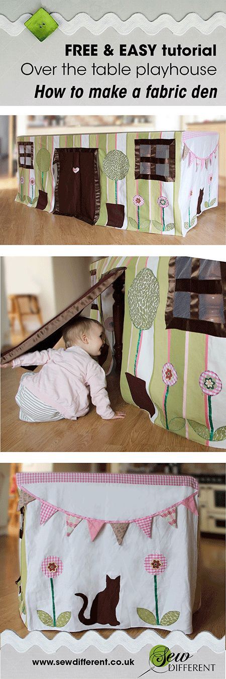 I love the idea of this space-saving instantly-up play house. How simple! You just throw it on over your table and there you have a ready made super-cute den. Tutorial and inspiration from Sew Different.