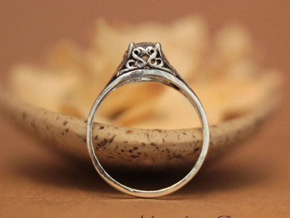 SALE Dainty White Sapphire Filigree Engagement by moonkistdesigns