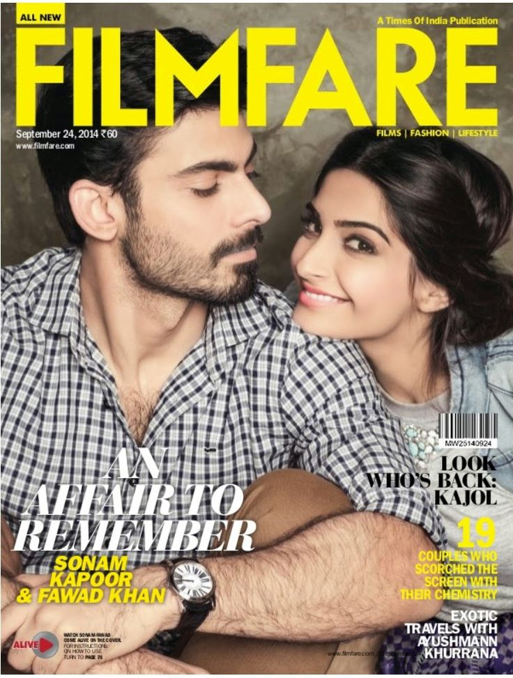 Sonam Kapoor and Fawad Khan on The Cover of Filmfare Magazine - September 2014.