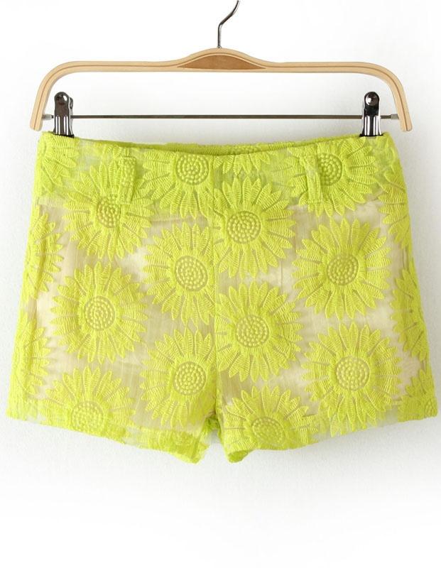 Green Sunflowers Pattern Lace Shorts - Sheinside.com