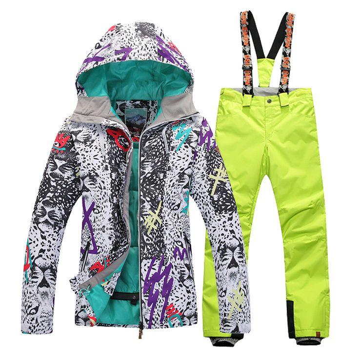 Waterproof Windproof Breathable Skiing Jackets and Ski Pants Set Outdoor Gsou Snow Women's Ski Suit Set Winter women Ski Jacket #Affiliate